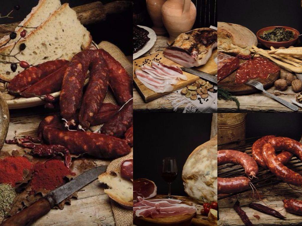 Petit marché des Saveurs du Sud de Jauche - Italie - Grèce - France :: Charcuteries fines de Basilicata - jambon, lard, saucisses & saucissons