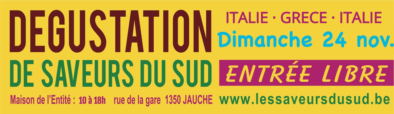 Les Saveurs du Sud à Jauche, le 24 novembre 2019 - vins et produits de terroir - Italie, Grèce, Italie